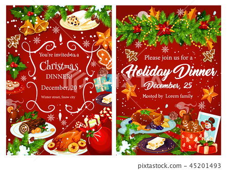 Christmas holiday festive dinner invitation card - Stock ...