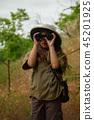 cork helmet girl in nature 45201925