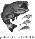 fish fishing logo and lures isolated on white vector illustration 45203434