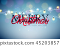 Christmas Illustration with Glowing Colorful Lights Garland and 3d Typography Element for Greeting 45203857