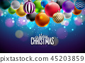 Merry Christmas Illustration with Multicolor Ornamental Balls on Shiny Purple Background. Vector 45203859