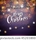 Merry Christmas Illustration with Glowing Colorful Lights Garland for Xmas Holiday and Happy New 45203860