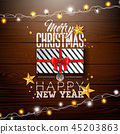 Merry Christmas Illustration with Gift Box, Lights Garland, Gold Star and Typography Elements on 45203863