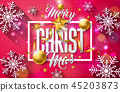 Merry Christmas and Happy New Year Illustration on Shiny Snowflake Background with Typography 45203873