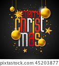 Merry Christmas Illustration with Gold Glass Ball, Star and Typography Elements on Black Background 45203877