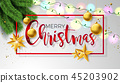 Merry Christmas Illustration on White Background with Ornamental Ball and Typography Letter. Vector 45203902