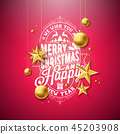 Merry Christmas Illustration with Gold Glass Ball, Star and Typography Elements on Red Background 45203908