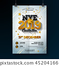 2019 New Year Party Celebration Poster Template Illustration with Shiny Gold Number on White 45204166