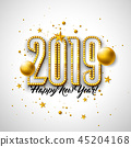 2019 Happy New Year illustration with 3d typography lettering, and Christmas ball on white 45204168