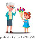 Little Girl Giving Flowers To Grandmother Vector. Illustration 45205559