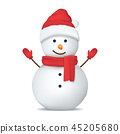 Realistic Detailed 3d Happy Snowman in Hat. Vector 45205680