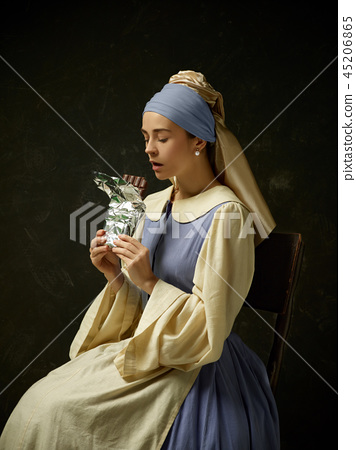 Medieval Woman in Historical Costume Wearing Corset Dress and Bonnet. 45206865