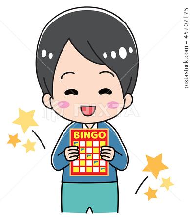 Boy holding a bingo card 45207175