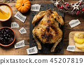 roast turkey and words written in pieces of paper 45207819