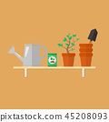 Gardening tools and products on a wooden shelf 45208093