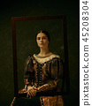Portrait of a girl wearing a retro princess or countess dress 45208304