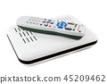 Remote and Receiver for IP TV on white side view 45209462