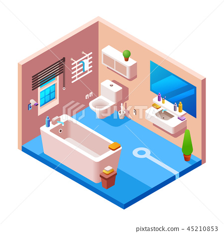 isometric modern bathroom interior 45210853