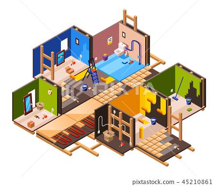isometric home renovation, repair set 45210861