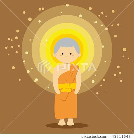 Monk in cartoon style vector 45211642