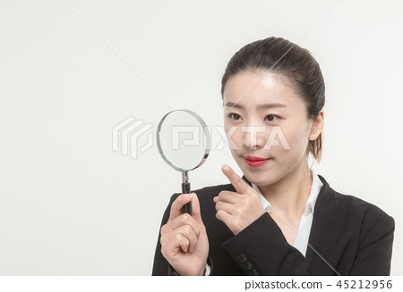 Korean career woman's various expressions and pose 45212956