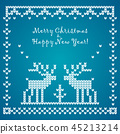 Flat vector Vector knitted pattern with raindeer 45213214