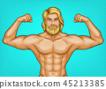 pop art naked bearded athlete, sportsman 45213385