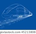 train, wireframe, railway 45213806