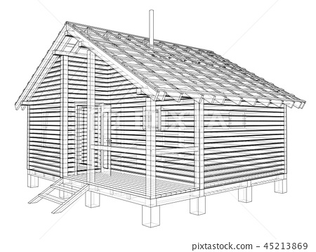 Sketch of small house. Vector rendering of 3d 45213869