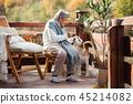 senior, garden, sitting 45214082