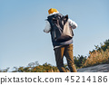 Stylish young tourist blogger is walking with his backpack 45214186