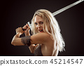 danger sexy warrior viking girl with sword attack 45214547