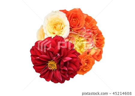 A bouquet of dahlias and roses 45214608