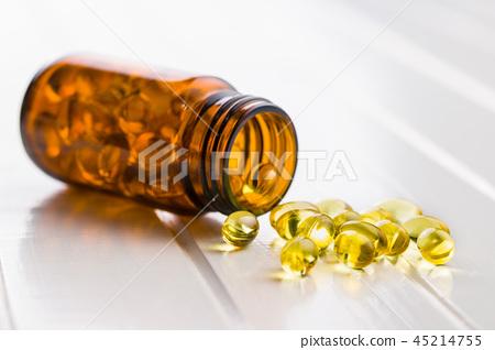 Omega 3 gel capsules. 45214755