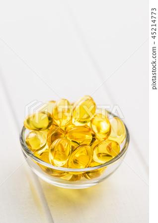 Omega 3 gel capsules. 45214773