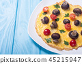 Omelette with mushroom , tomato and parsley 45215947
