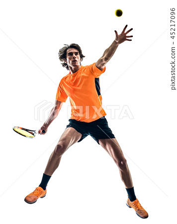 tennis player man silhouette isolated white background 45217096