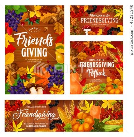 Friendsgiving holiday potluck dinner harvest party 45221540