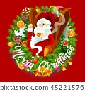 Santa Claus in Christmas wreath, spruce branches 45221576