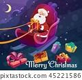 Christmas gifts, Santa claus on sleigh, night sky 45221586