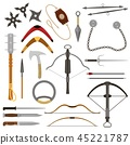 Throwing weapon vector crossbow sharp arrows and knife or axe illustration weaponry set of ninja 45221787