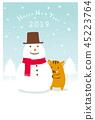연하장 25 눈사람 45223764