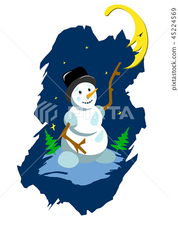 Stock Illustration Snowman and Moon 45224569