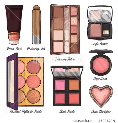 Sketch set of makeup products 45226219