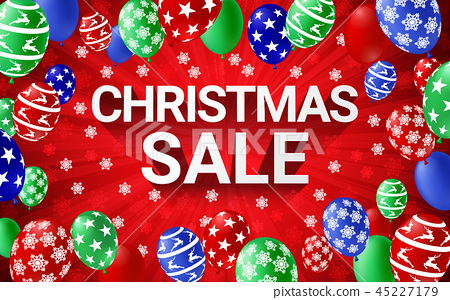 Christmas sale banner winter season red background 45227179