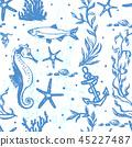 Ink hand drawn marine world seamless pattern 45227487