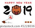 การ์ดปีใหม่ของปีระกาภาพประกอบของไก่และปี 2019 45228036