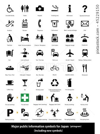日本主要信息地圖的符號(象形圖) - 英文/新符號與說明文字的對應關係 45229150
