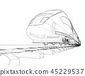 train, wireframe, railway 45229537