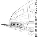 train, wireframe, railway 45229801